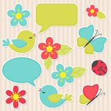 Fiori ed uccelli Fotografie Stock