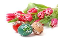 Fiori ed uova di Pasqua Fotografie Stock