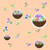 Fiori ed uova di Pasqua colorate Fotografia Stock Libera da Diritti
