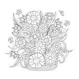Fiori, erba e farfalla di scarabocchio Immagine Stock Libera da Diritti