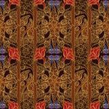 Fiori esotici stilizzati Ornamento sudorientale di Traditionaln Asia Popolare nella decorazione delle tempie di Buddha Ritmo vert Fotografia Stock