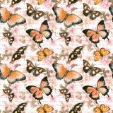 Fiori, farfalle, lettera del testo scritto della mano watercolor Reticolo senza giunte Fotografie Stock