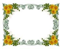 Fiori floreali di colore giallo del bordo Fotografia Stock Libera da Diritti