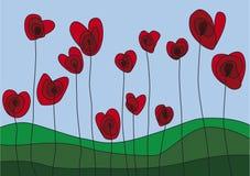 Fiori a forma di del cuore Immagini Stock