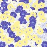 Fiori gialli e blu Fotografia Stock