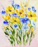 Fiori gialli e blu di stile moderno dipinto a mano Immagini Stock Libere da Diritti