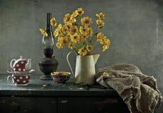 Fiori gialli e ribes Fotografie Stock Libere da Diritti