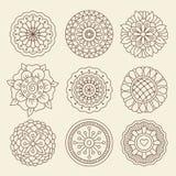 Fiori indiani del tatuaggio del hennè di Mehndi illustrazione di stock