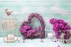 Fiori, lanterne e cuore lilla viola su turchese di legno Fotografia Stock Libera da Diritti