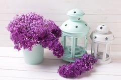 Fiori lilla della molla olorful del ¡ di Ð e l bianca luminosa e del turchese Fotografia Stock Libera da Diritti