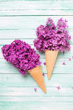 Fiori lilla freschi in due coni della cialda su turchese b di legno Immagini Stock Libere da Diritti
