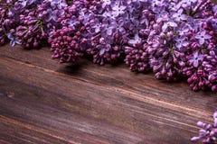Fiori lilla su un bordo di legno anziano Immagine Stock