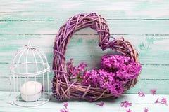 Fiori lilla viola, cuore decorativo e lanterna su turchese Fotografie Stock