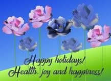 Fiori luminosi lussuosi del papavero di vettore per la decorazione floreale per le carte dell'invito, nozze, insegne, vendite, op illustrazione vettoriale