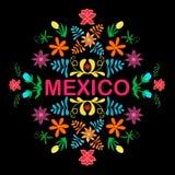 Fiori, modello ed elementi del Messico Vettore Fotografia Stock
