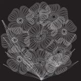 Fiori Modello o struttura di semitono punteggiato di spirale di vettore illustrazione di stock