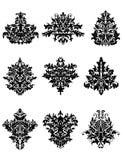 Fiori neri nel retro stile del damasco Fotografie Stock