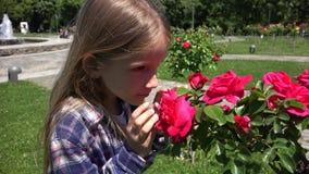 Fiori odoranti delle rose del ritratto del bambino all'aperto in parco, ragazza che gioca in natura 4K video d archivio
