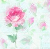 Fiori Painterly impressionisti del fiore di Rosa dell'acquerello Fotografia Stock