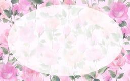 Fiori Painterly impressionisti del fiore di Rosa dell'acquerello Immagini Stock