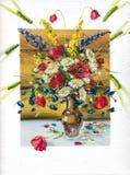 Fiori, pitture ad olio della maschera su una tela di canapa Immagini Stock Libere da Diritti