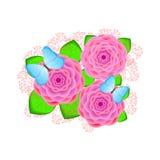 Fiori rosa creativi con le farfalle e rami sul Immagini Stock Libere da Diritti