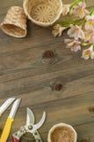 Fiori rosa di Alstromeria su fondo di legno con gli strumenti floristici del giardino ed il bordo floreale rustico del cavo Immag Fotografie Stock
