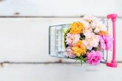 Fiori rosa di un bello muschio in un mini secchio verde in mini automobile Fotografie Stock