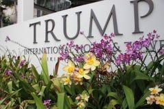 Fiori rosa & gialli davanti al segno di Trump Immagine Stock