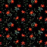 Fiori rossi botanici modello senza cuciture, illustrazione del giardino di vettore illustrazione di stock