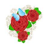 Fiori rossi creativi con la farfalla e rami sul briciolo Immagini Stock