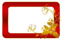 Fiori rossi del blocco per grafici dell'oro della cartolina di Natale Immagini Stock