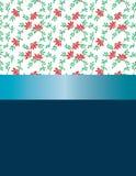 Fiori rossi di progettazione e nastro blu Fotografia Stock Libera da Diritti