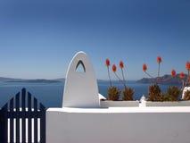 Fiori rossi di Santorini immagini stock