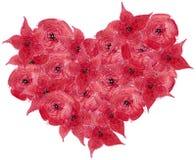 Fiori rossi sotto forma di un cuore fotografia stock libera da diritti