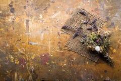 Fiori secchi su un fondo di legno Autumn Still Life Fotografie Stock Libere da Diritti