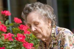 Fiori sententi l'odore della donna anziana Immagine Stock Libera da Diritti
