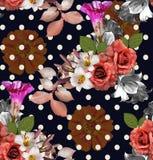 Fiori senza cuciture con il pois; rose con il giglio e zinnia su N illustrazione vettoriale