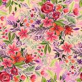Fiori senza cuciture sul rosa modello ditsy di modo illustrazione di stock