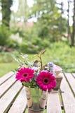 Fiori su una tavola del giardino Immagini Stock Libere da Diritti