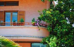 Fiori sui balconi Fotografia Stock