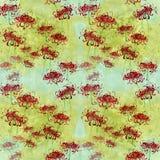 Fiori sui precedenti dell'acquerello Fondo senza cuciture Collage dei fiori e delle foglie Spazzola cinese che attinge carta di r illustrazione vettoriale