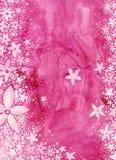 Fiori sul colore rosa   Fotografia Stock