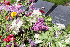 Fiori sulle tombe al memoriale di guerra di Chisinau Immagini Stock