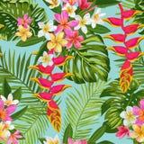Fiori tropicali dell'acquerello e modello senza cuciture delle foglie di palma Fondo disegnato a mano floreale Fiori di fioritura illustrazione di stock