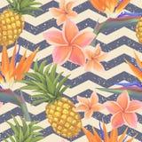 Fiori tropicali ed ananas esotici senza cuciture Immagine Stock