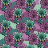 Fiori tropicali sui precedenti del cammuffamento Vector il reticolo senza giunte Illustrazione tropicale del fiore di Camo Per il Fotografie Stock