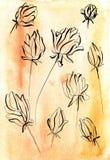 Fiori in una linea su un fondo caldo dell'acquerello Illustrazione di Stock