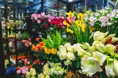 Fiori variopinti al mercato del fiore Fotografia Stock Libera da Diritti