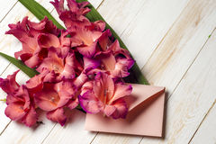 Fiori variopinti in busta, concetto di consegna del fiore congratulisi fotografia stock